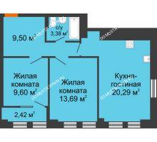 3 комнатная квартира 65,56 м², ЖК Каскад на Менделеева - планировка