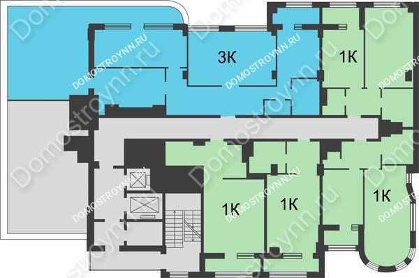 Планировка 17 этажа в доме № 5 в ЖК Караваиха