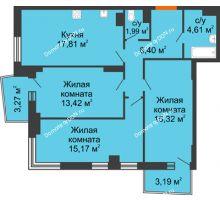 3 комнатная квартира 79,3 м² в ЖК Сердце Ростова 2, дом Литер 4 - планировка