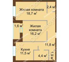2 комнатная квартира 68,5 м² в ЖК Монолит, дом № 89, корп. 1, 2 - планировка