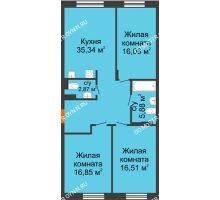 3 комнатная квартира 93,51 м², ЖК Шаляпин - планировка
