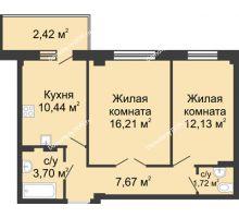 2 комнатная квартира 52,89 м² в ЖК Соловьиная роща, дом № 3 - планировка