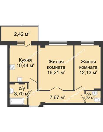 2 комнатная квартира 52,89 м² в ЖК Соловьиная роща, дом № 4