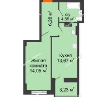 1 комнатная квартира 40,27 м² в ЖК Аврора, дом № 2 - планировка