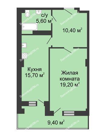 1 комнатная квартира 55 м² - ЖК Дом на Береговой