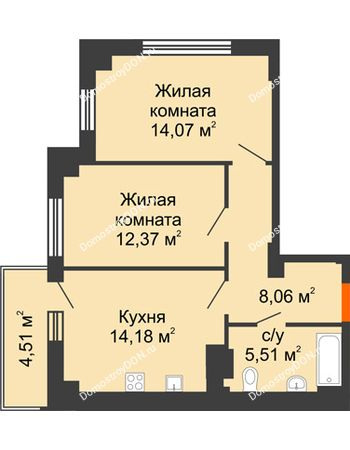 2 комнатная квартира 55,54 м² в ЖК Аврора, дом № 3