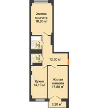 2 комнатная квартира 71 м², ЖК Гагарин - планировка
