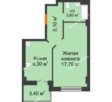 1 комнатная квартира 39,3 м² в ЖК Парк Островского 2, дом № 2 - планировка