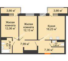 3 комнатная квартира 66,74 м² в ЖК intellect-Квартал (Интеллект-Квартал), дом 2 секция - планировка