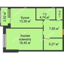 Студия 52,3 м², ЖК Сергиевская Слобода - планировка