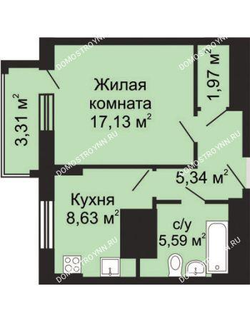 1 комнатная квартира 40,32 м² в ЖК Солнечный, дом № 5 - Гелиос