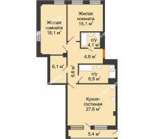 2 комнатная квартира 94,05 м² в ЖК Георгиевский, дом 6 - планировка