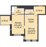 2 комнатная квартира 56,22 м² в ЖК Столичный, дом корпус А, блок-секция 1,2,3 - планировка