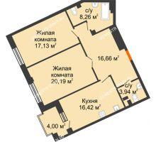 2 комнатная квартира 82,6 м², Дом премиум-класса Коллекция - планировка