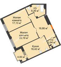 2 комнатная квартира 84,6 м², Дом премиум-класса Коллекция - планировка