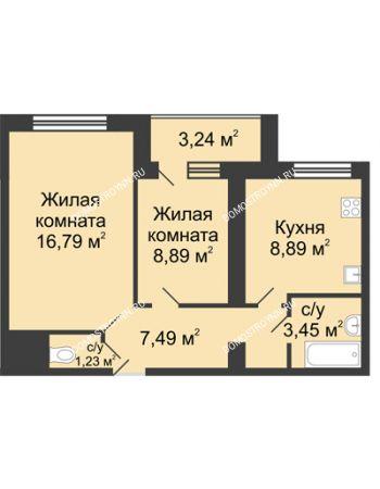 2 комнатная квартира 48,36 м² в ЖК Удачный, дом № 3
