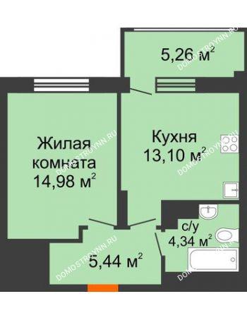 1 комнатная квартира 39,44 м² в ЖК Маленькая страна, дом № 4