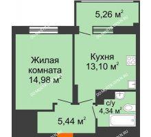 1 комнатная квартира 39,44 м² в ЖК Маленькая страна, дом № 4 - планировка