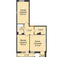 2 комнатная квартира 81,09 м² в ЖК Георгиевский, дом 6 - планировка