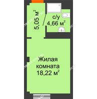 Апартаменты-студия 27,93 м², Апарт-Отель Гордеевка - планировка