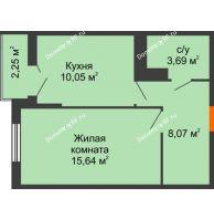 1 комнатная квартира 38,57 м² в ЖК Семейный парк, дом Литер 2 - планировка