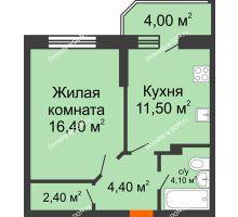 1 комнатная квартира 42,8 м² в ЖК Звездный-2, дом № 4 - планировка