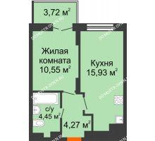 1 комнатная квартира 36,32 м² в ЖК КМ Анкудиновский парк, дом № 20 - планировка