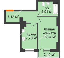 1 комнатная квартира 33,59 м² в ЖК Мечников, дом ул. Мечникова, 37 - планировка