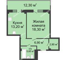 1 комнатная квартира 50,6 м², ЖК Нахичевань - планировка