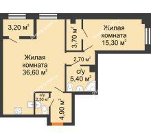 2 комнатная квартира 72,5 м², ЖК Дом на 18-й Линии, 3 - планировка