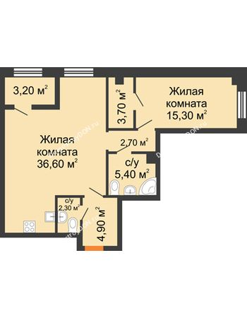 2 комнатная квартира 72,5 м² - ЖК Дом на 18-й Линии, 3