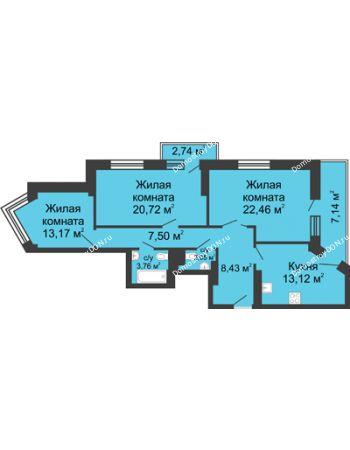3 комнатная квартира 101,09 м² - ЖК Юбилейный