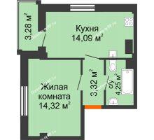 1 комнатная квартира 36,6 м² в Жилой район Берендей, дом № 14 - планировка