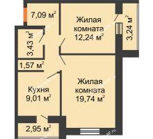 2 комнатная квартира 66,18 м², ЖК Парк Металлургов - планировка