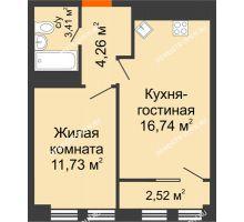 2 комнатная квартира 41,03 м², ЖК Каскад на Менделеева - планировка