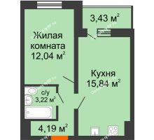 1 комнатная квартира 37,01 м², ЖК Инстеп.Победа - планировка