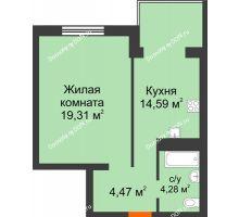 1 комнатная квартира 42,65 м², ЖК Зеленый квартал 2 - планировка