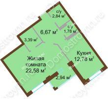 1 комнатная квартира 51,52 м² в ЖК Дом с террасами, дом № 1 - планировка