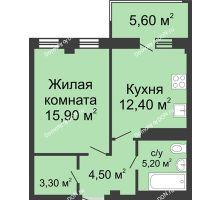 1 комнатная квартира 43 м², ЖК Нахичевань - планировка