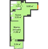 Студия 29,55 м² в ЖК Сердце Ростова 2, дом Литер 8 - планировка
