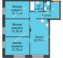 3 комнатная квартира 77,2 м² в ЖК Заречье, дом № 7 - планировка
