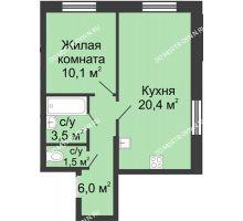 1 комнатная квартира 41,5 м² в ЖК Цветы, дом № 11 - планировка