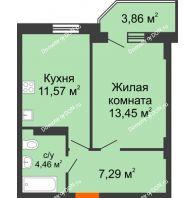 1 комнатная квартира 37,93 м² в ЖК Свобода, дом № 1 - планировка