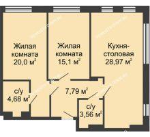 2 комнатная квартира 80,19 м² в ЖК TRINITY (Тринити), дом № 1 - планировка