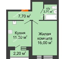 1 комнатная квартира 39,8 м² в ЖК НОРД, дом № 13 - планировка