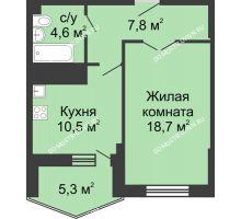 1 комнатная квартира 47,5 м² в ЖК Монолит, дом № 89, корп. 3 - планировка