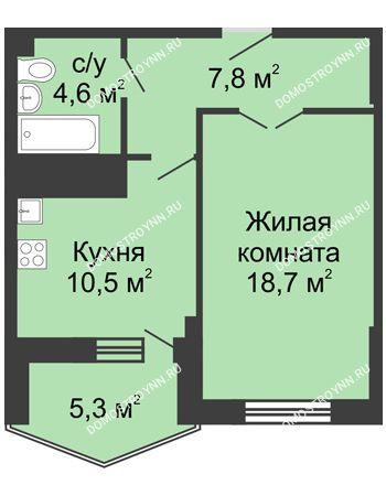 1 комнатная квартира 47,5 м² в ЖК Монолит, дом № 89, корп. 3