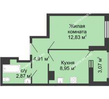 1 комнатная квартира 33,88 м² в ЖК Красная поляна, дом №3