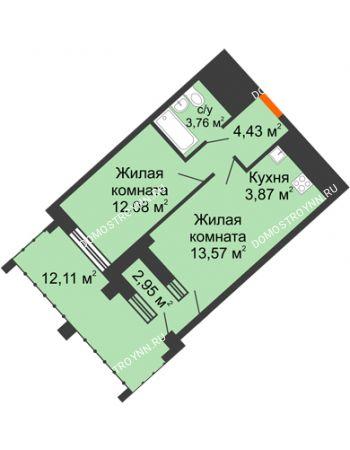 1 комнатная квартира 42,82 м² в ЖК Дом на Набережной, дом № 1
