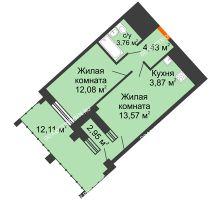 1 комнатная квартира 42,82 м² в ЖК Дом на Набережной, дом № 1 - планировка